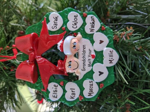 Grandparents Holly Wreath Personalised Christmas Decoration