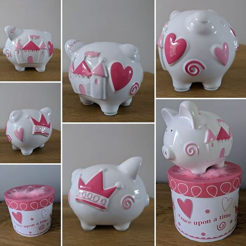 "Princess ""Once Upon a Time"" Personalised Piggy Bank / Ceramic Money Box / Birthday Gift / New Baby"
