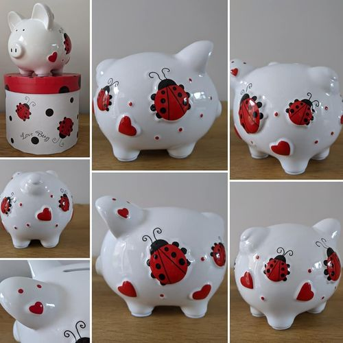 "Ladybird ""Love Bug"" Personalised Ceramic Piggy Bank / Red Hearts Valentine's Day Gift / Birthday"
