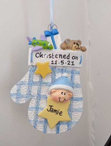 Baby Boy Blue Mitten Personalised Decoration