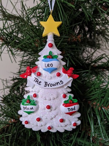 White Glitter Tree Family of 3 Personalised Christmas Decoration