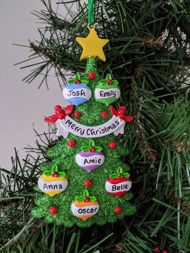 Green Glitter Tree Family of 6 Personalised Christmas Decoration