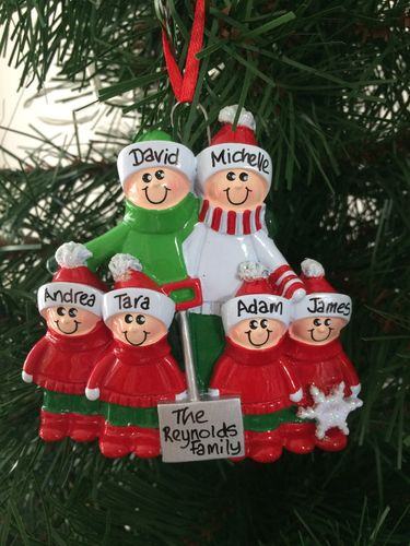 Snow Shovel Family of 6 Personalised Christmas Decoration