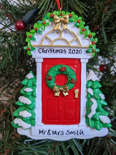 Red Door with Wreath Personalised Christmas Decoration