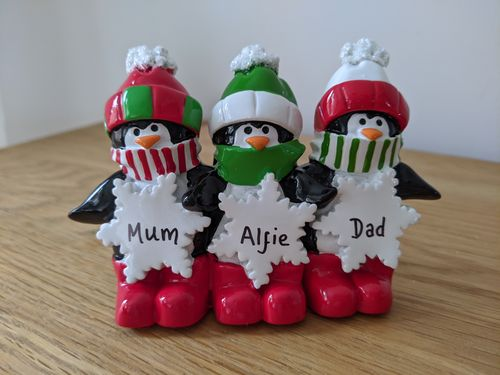 Penguin Snowflakes Family of 3 Tabletop Personalised Christmas Decoration