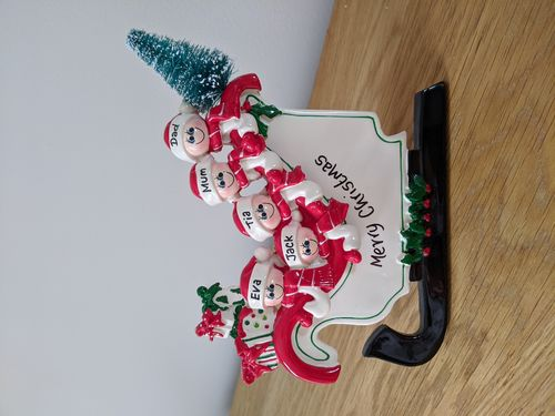 Sleigh Family of 5 Personalised Table Top Christmas Decoration