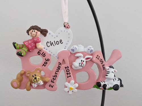Pink Word Baby Girl Personalised Decoration