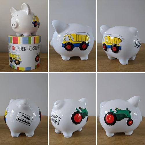 """Under Construction"" Tractors & Trucks Personalised Ceramic Piggy Bank / Birthday Gift"