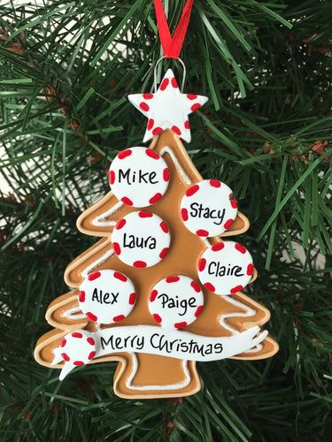 Gingerbread Tree Family of 6 Personalised Christmas Decoration