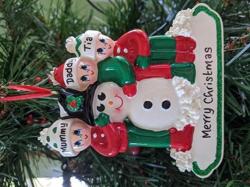 Making a Snowman Family of 3 Personalised Christmas Decoration