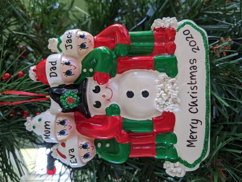 Making a Snowman Family of 4 Personalised Christmas Decoration