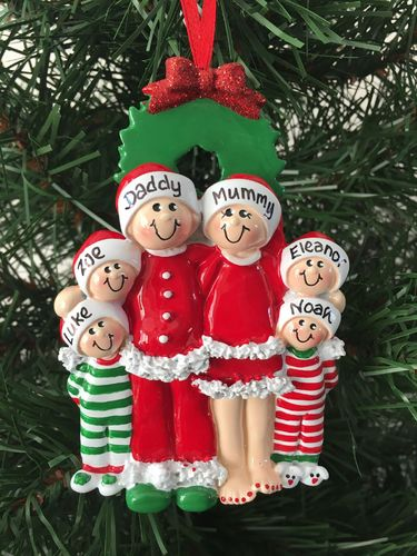 Christmas Eve Family of 6 Personalised Christmas Decoration