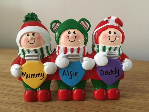 Christmas Lights Family of 3 Personalised Table Top Christmas Decoration