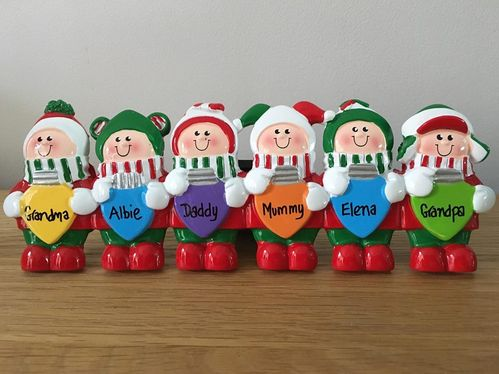 Christmas Lights Family of 6 Personalised Table Top Christmas Decoration