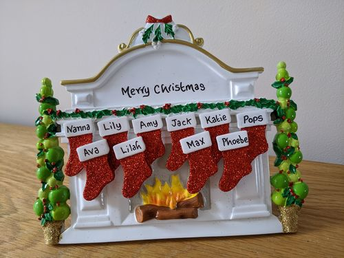 White Mantel Family of 10 Personalised Table Top Christmas Decoration