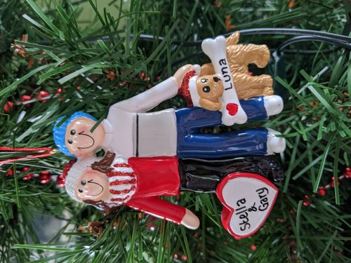 Couple with Dog Personalised Christmas Decoration