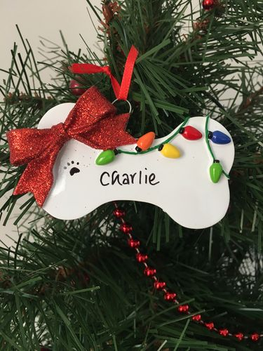 Dog Bone with Christmas Lights Personalised Christmas Decoration