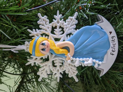 Snow Princess Blonde Personalised Christmas Decoration