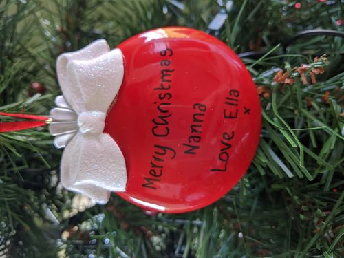 Glitter Ribbon Christmas Ball Personalised Christmas Decoration