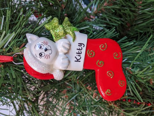 Cat Stocking Personalised Christmas Decoration
