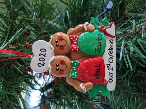 Gumdrop Gingerbread Couple Personalised Christmas Decoration