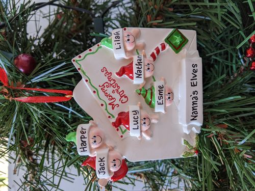 Christmas Letter Family of 6 Personalised Christmas Decoration