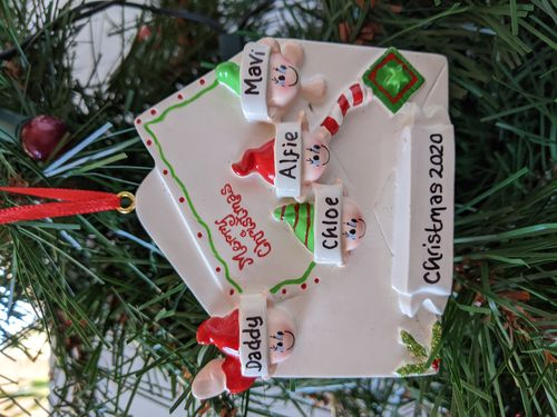 Christmas Letter Family of 4 Personalised Christmas Decoration