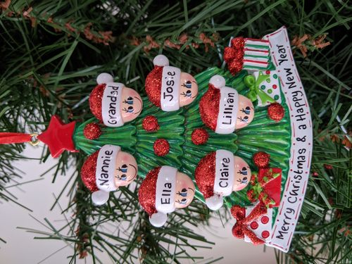 Christmas Tree Family of 6 Personalised Christmas Decoration