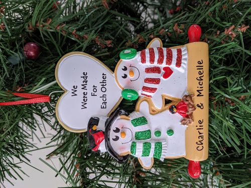 Gingerbread Cookie Love Couple Personalised Christmas Decoration