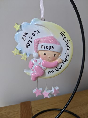 Baby Girl's Pink Glitter Moon Personalised Decoration | New Baby Gift | Christening Present