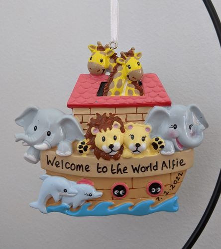 Noah's Ark Personalised Decoration / New Baby Gift / Christening Birthday Present
