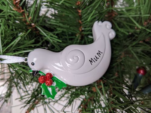 White Dove Memorial Personalised Christmas Decoration