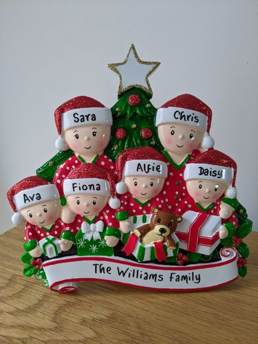Pyjama Family  of 6 Table Top Personalised Christmas Decoration