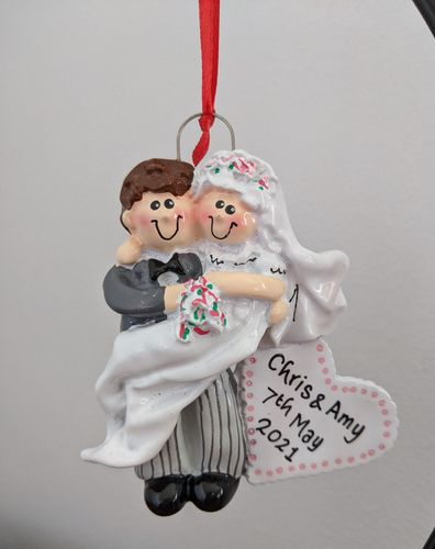Groom Carrying His Bride Personalised Wedding Decoration