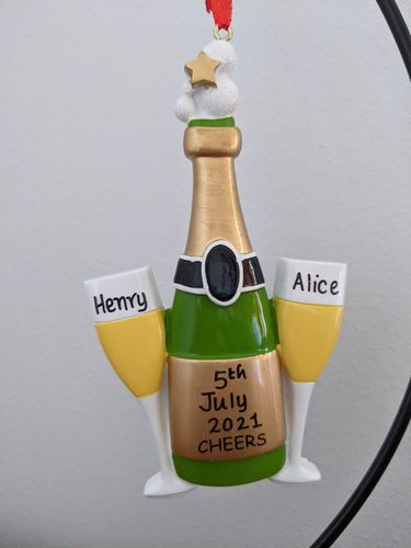 """Cheers"" Champagne Toast Celebration Personalised Decoration"
